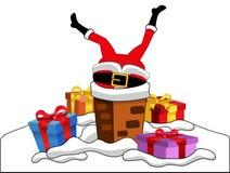 Santa Claus Stuck Chimney Roof Xmas Fotografia Stock Libera da Diritti