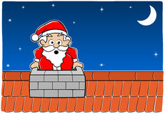 Santa Claus stuck in the chimney Stock Image