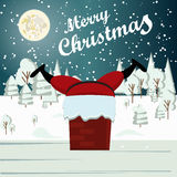 Santa Claus stuck in a chimney Winter Snow Urban Countryside Landscape  Royalty Free Stock Photos