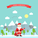 Santa. Claus in the style of flat, Marry Christmas Stock Images