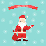 Santa. Claus in the style of flat, Marry Christmas Royalty Free Stock Image