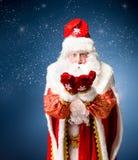 Santa Claus su fondo blu Immagini Stock Libere da Diritti