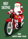 Santa Claus su un motociclo rosso royalty illustrazione gratis