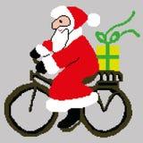 Santa Claus, Santa Claus su una bici con un regalo estratto dai quadrati, pixel Buon anno della cartolina d'auguri Illustrazione  fotografia stock