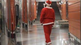 Santa claus subway transport costume  traditional new year celebration. Santa claus subway transport costume traditional new year celebration walk stock video