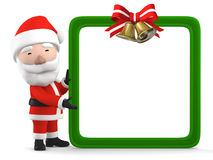 Santa Claus with blank white board, 3D illustration stock illustration