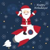 Santa Claus sul volo della nave del razzo attraverso lo spazio Fotografia Stock