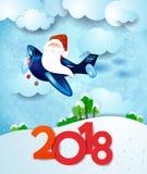 Santa Claus sull'aeroplano di giorno con testo Immagini Stock