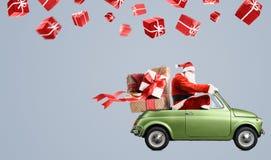 Santa Claus sull'automobile Fotografia Stock