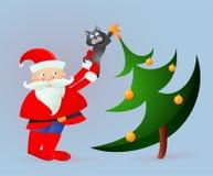 Santa Claus sulla cartolina d'auguri illustrazione vettoriale