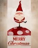 Santa Claus sulla cartolina d'auguri del fungo Fotografia Stock Libera da Diritti