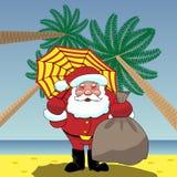 Santa Claus sulla spiaggia a Rio Fotografia Stock Libera da Diritti