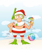 Santa Claus on Summer Holiday Vector Cartoon Stock Images