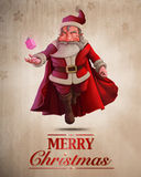 Santa Claus Super Hero greeting card Stock Image