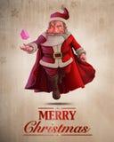 Santa Claus Super Hero hälsningkort Fotografering för Bildbyråer