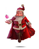 Santa Claus Super Hero - White background. Santa Claus super hero with red cape and the gift box Royalty Free Stock Image