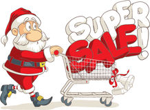 Santa Claus Super Sale Vector Cartoon Stock Foto