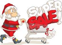 Santa Claus Super Sale Vector Cartoon Photo stock