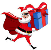 Santa Claus superhero delivering big xmas gift isolated Royalty Free Stock Photo