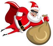 Santa Claus superhero flying sack full xmas gifts isolated Royalty Free Stock Photography