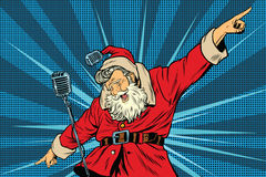Santa Claus superstar singer on stage Royalty Free Stock Photo