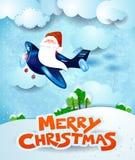 Santa Claus sur l'avion par jour avec le texte Image libre de droits