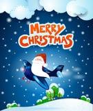 Santa Claus sur l'avion par nuit avec le texte Photographie stock