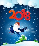 Santa Claus sur l'avion par nuit et texte Image libre de droits