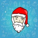 Santa Claus sur le fond cyan bleu d'ornement de Noël illustration de vecteur
