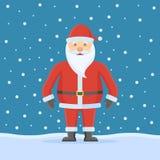 Santa Claus sur le fond de neige Style plat illustration libre de droits