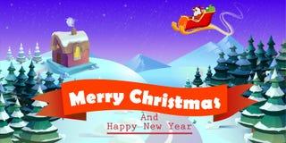 Santa Claus sur le traîneau et ses rennes Ville d'hiver Horizontal urbain illustration de vecteur