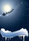 Santa Claus sur un fond de la pleine lune Photos libres de droits