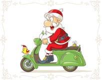 Santa Claus sur une bande dessinée de vecteur de scooter Photos stock