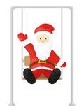 Santa Claus sur une oscillation Dirigez l'illustration dans le style de bande dessinée d'isolement sur le fond blanc Image libre de droits