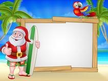 Santa Claus Surf Beach Christmas Cartoon Sign stock illustration