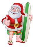 Santa Claus Surf Christmas Cartoon royaltyfri illustrationer