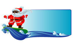 Santa Claus Surfing. On the waves Royalty Free Stock Images