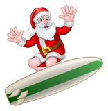 Santa Claus Surfing Christmas Cartoon libre illustration