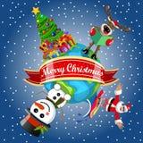 Santa Claus surfing reindeer snowman xmas tree cartoon earth Stock Image