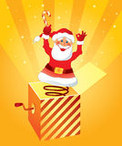 Santa Claus surprise. Christmas card with Santa Claus with candy Royalty Free Stock Photo
