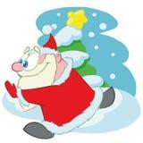 Running Santa Claus, cartoon stock illustration