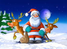Santa Claus surrounded by his deers stock illustration