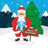 Santa Claus sveglia con un regalo in sue mani Paesaggio delle montagne, foresta, neve Progettazione piana moderna Illustrazione d Fotografie Stock Libere da Diritti