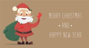 Santa Claus sveglia con una borsa di ondeggiamento dei regali Illustrazione di Natale di vettore Fotografie Stock Libere da Diritti