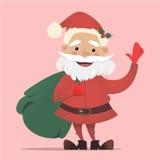 Santa Claus sveglia con una borsa di ondeggiamento dei regali Illustrazione di Natale di vettore Insegna del ` s del nuovo anno Fotografia Stock