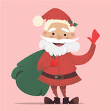 Santa Claus sveglia con una borsa di ondeggiamento dei regali Illustrazione di Natale di vettore Insegna del ` s del nuovo anno Immagine Stock