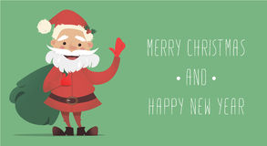 Santa Claus sveglia con una borsa di ondeggiamento dei regali Illustrazione di Natale di vettore Nuovi anni di bandiera Immagini Stock