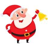 Santa Claus sveglia e divertente che suona la campana di Natale dorata royalty illustrazione gratis