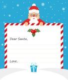 Santa Claus sveglia in vestito uniforme sta tenendo una carta la forma per la scrittura e sorridere amichevole Progettazione pian Immagine Stock Libera da Diritti