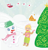 Santa claus, sweet snowman and smiling little girl Stock Photo